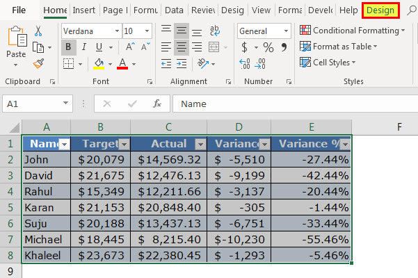 Excel table - Change Color - Step 1