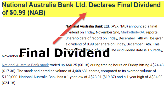 final dividend  meaning  example