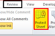 Review tab and select Protect Sheet