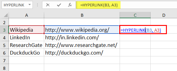 Hyperlinks in Excel Example 1-1
