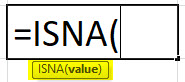ISNA formula in excel