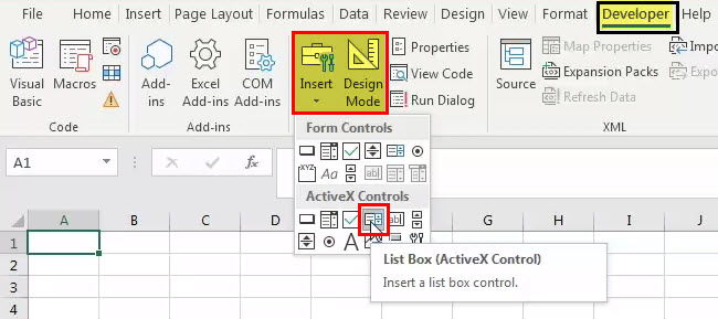 List Box in Excel 1