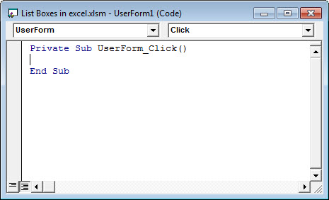 List Box in Excel 15