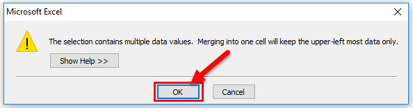 Merge Cells in Excel Step 4