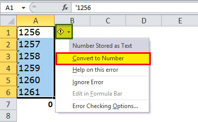 Quick Convert Text to numbers Step 2