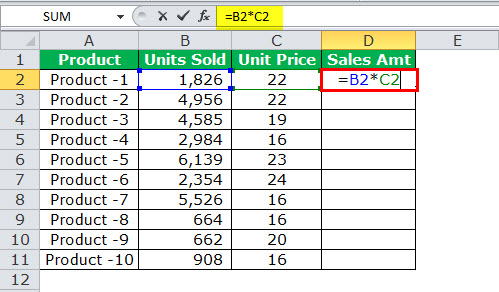 Relative reference in excel example 2-1
