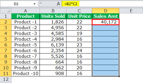 Relative reference in excel example 2-2