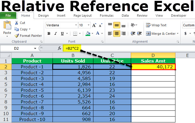 Relative reference in excel