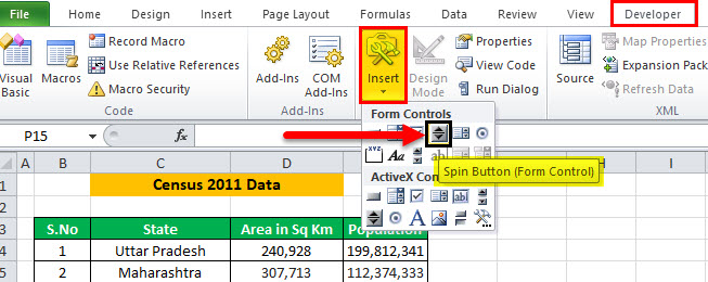 Scroll Bar in Excel Example 1-5