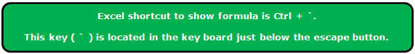 Show Formula in Excel Step 1-3