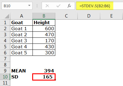 Standard Deviation in excel Example 1-3