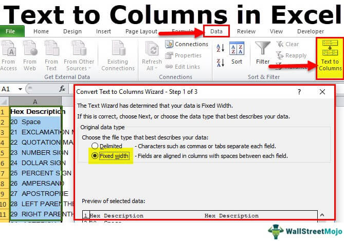 Text to Columns in Excel (Shortcut) | How to Convert Text to