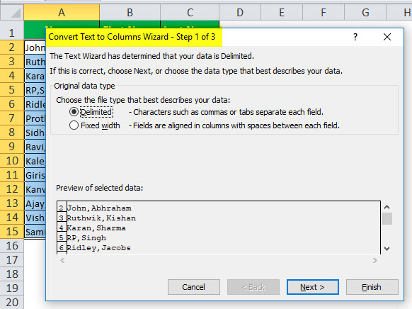 Text to Columns in Excel example 1-2