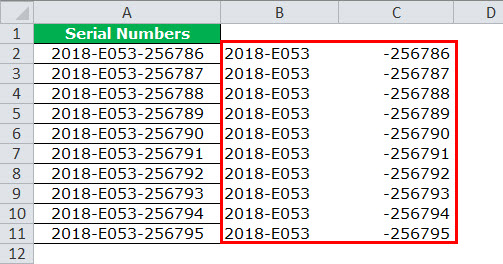 Text to Columns in Excel example 4-5