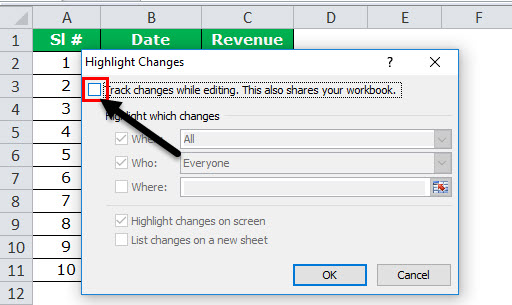 Track Changes in excel example 3