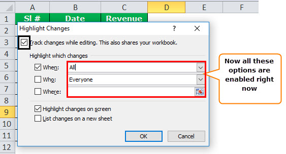 Track Changes in excel example 4