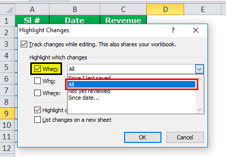 Track Changes in excel example 5
