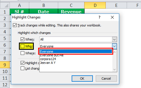 Track Changes in excel example 6