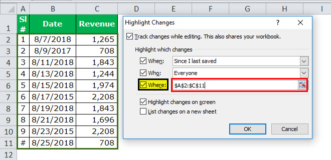 Track Changes in excel example 7