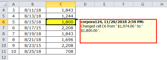 Track Changes in excel example 9