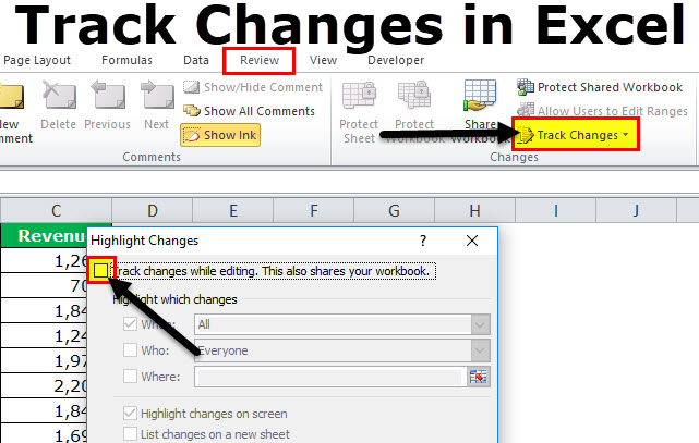 track changes in excel  examples