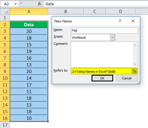 Using Name in Excel example 1-5