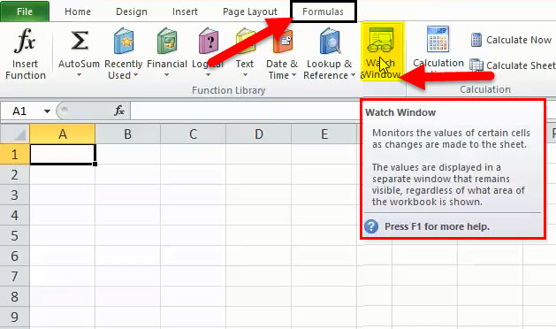Watch Window in Excel 1