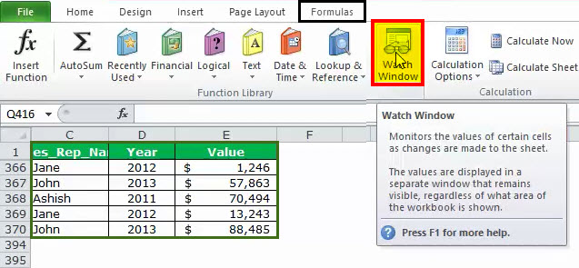 Watch Window in Excel Example 1-1