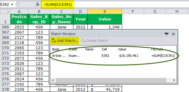 Watch Window in Excel Example 1-4