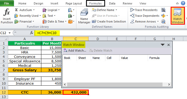 Watch Window in Excel Example 2-1