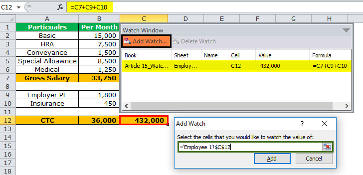 Watch Window in Excel Example 2-3