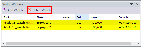 Watch Window in Excel Example 3