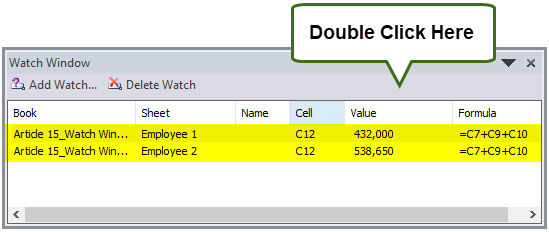 Watch Window in Excel Example 4