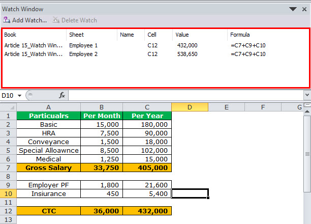 Watch Window in Excel Example 5