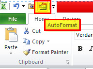 Quick Access Toolbar - Auto Format