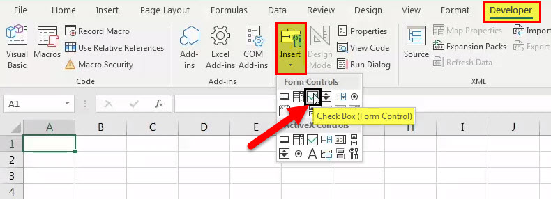 create check box in excel - step 1