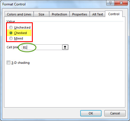 create check box in excel - step 4