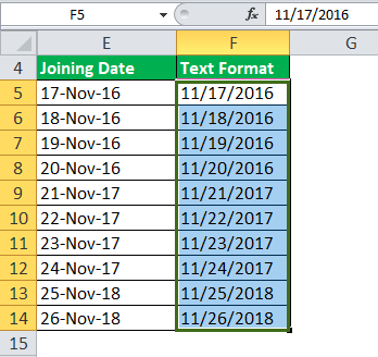 date to text in excel example 3-4