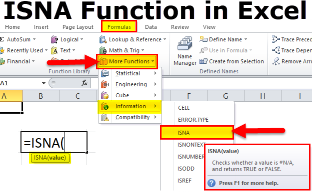 isna function in Excel .