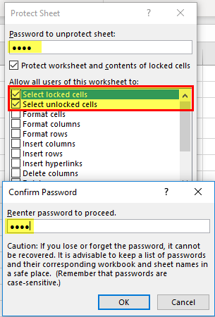 Lock cells in Excel formula (password)