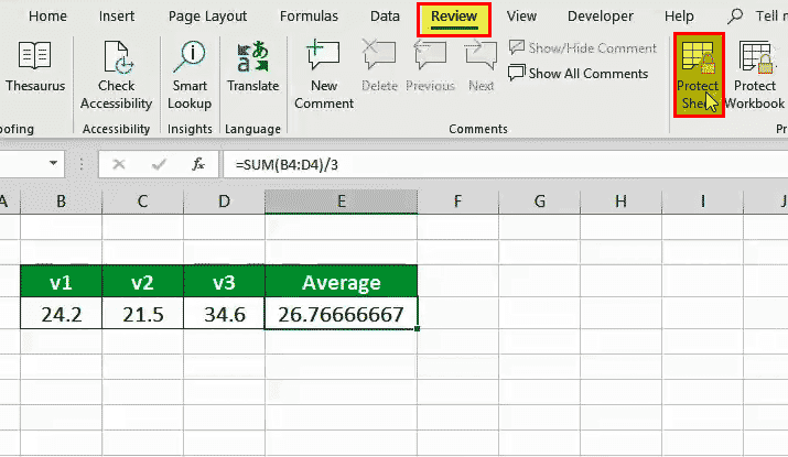 Lock cells in Excel formaula (protect sheet)
