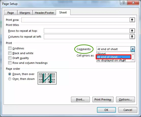 print comments in excel step 5