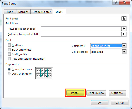 print comments in excel step 6