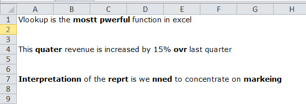 spell check in excel example 1