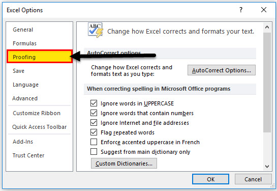 spell check in excel step 1-2