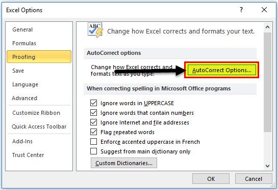 spell check in excel step 1-3