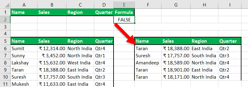 Advance Filter in Excel Example 7-3