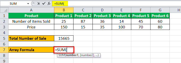 Arrays Formula in Excel example 1-4