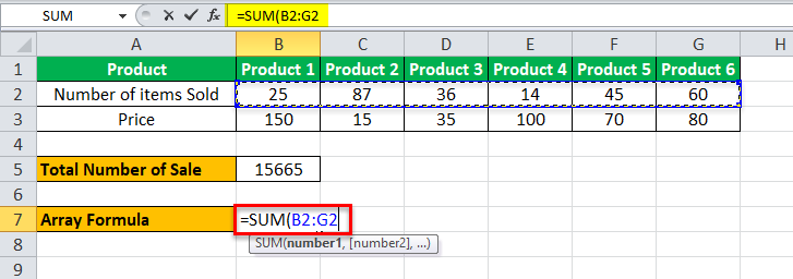 Arrays Formula in Excel example 1-5