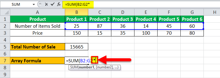 Arrays Formula in Excel example 1-6